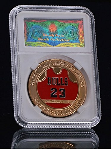 [Michael Jordan MVP 24K Gold Plated Medal - Challenge Coin - With Case Shipped from USA] (Bulls 24k Gold Coin)