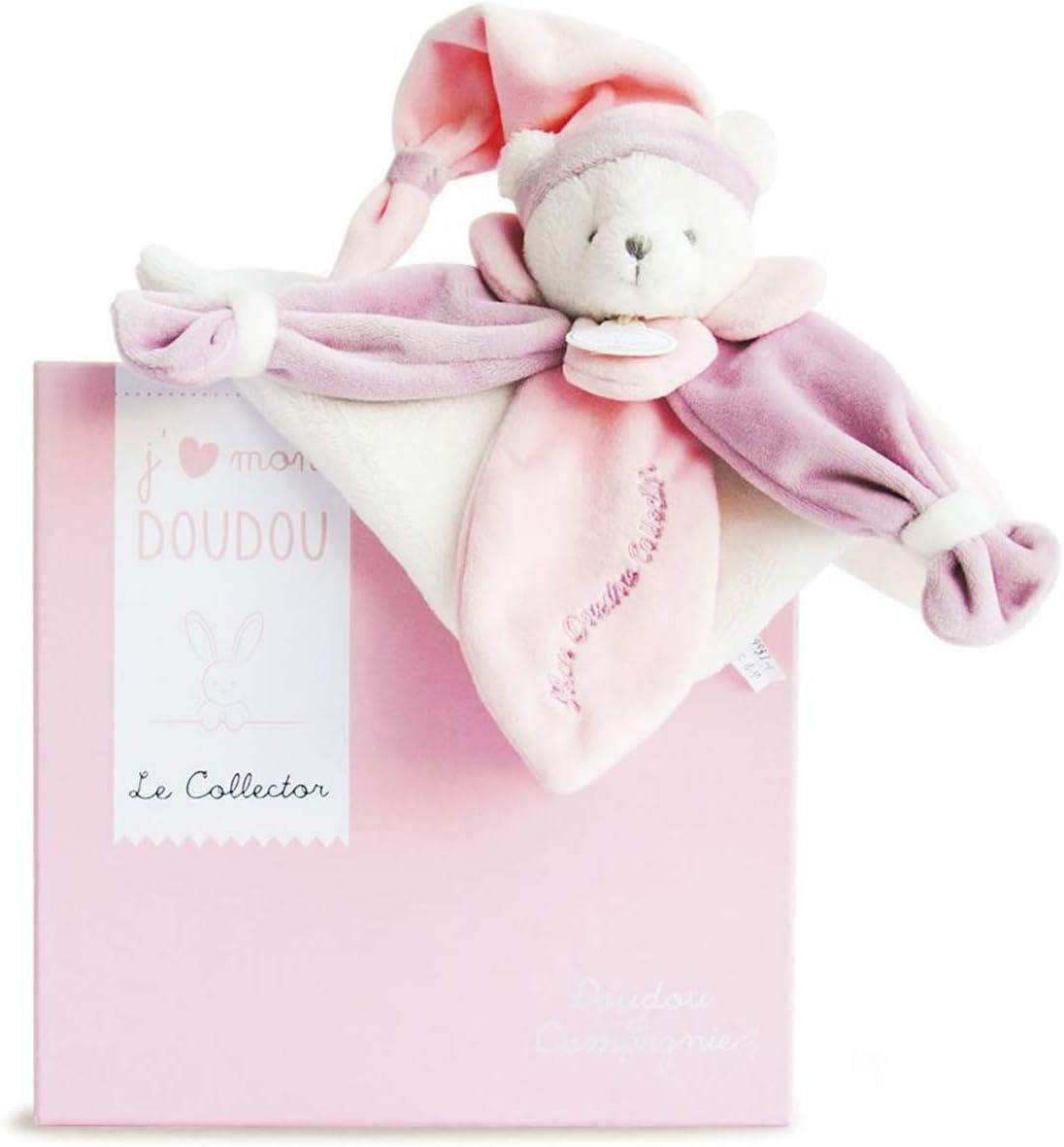 Security blanket Doudou ourson fleur bleu et blanc Doudou et Compagnie 00403