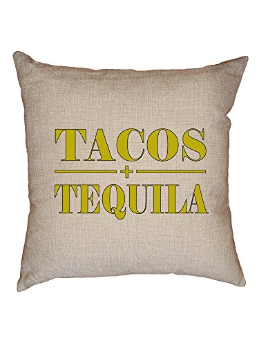 (Hollywood Thread Tacos & Tequila - Mexican Cino De Mayo Yellow Decorative Linen Throw Cushion Pillow Case with)