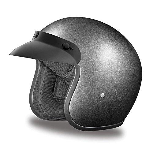 Novelty Helmet Shop (Daytona Helmets Motorcycle Open Face Helmet Cruiser- Gun Metal Grey Metallic 100% DOT)
