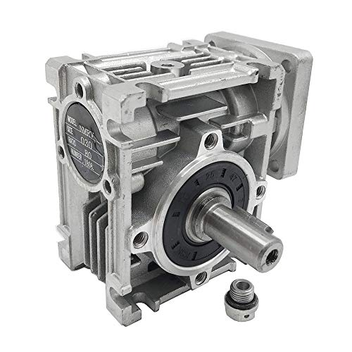 NMRV-030 Worm Gear Speed Reducer Ratio 80:1 NEMA23 Stepper Gearbox for Stepper/Servo ()