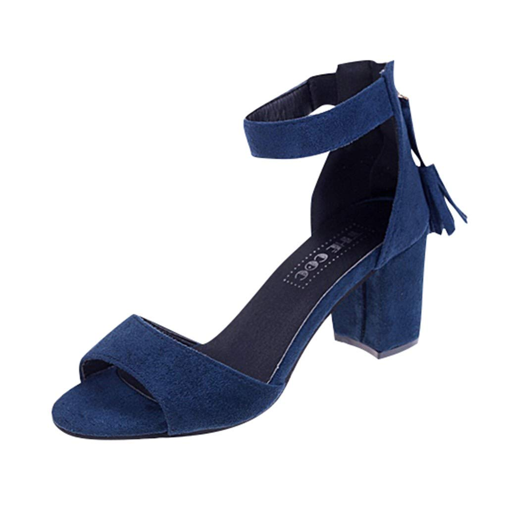 Women's Shoes for Women,SYHKS Women's Casual Roma Thick High Heel Tassel Zip Sandals Student Peep Toe Shoes Sandles for Women(Blue,40
