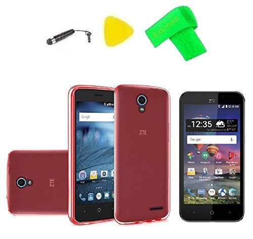 TPU Flexible Skin Cover Case Cell Phone Accessory + Screen Protector + Extreme Band + Stylus Pen + Pry Tool For ZTE ZFive2 ZFive 2 Z837VL Z836B ZTE 828 (TPU Red) from ExtremeCases