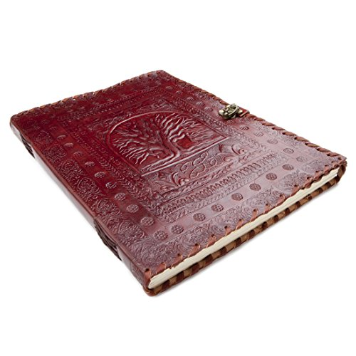 81stgeneration Leather Large Handmade Journal Tree Of Life Notebook Recycled 100 Pages (35cm x 27cm)