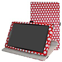 "Acer Iconia One 10 B3-A40 Rotating Case,Mama Mouth 360 Degree Rotary Stand With Cute Pattern Cover For 10.1"" Acer Iconia One 10 B3-A40 Android Tablet,PolkaDot Red"