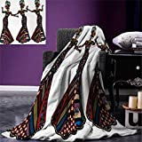 Anniutwo African Woman Throw Blanket Young Women in Stylish Native Costumes Carnival Festival Theme Dance Moves Warm Microfiber All Season Blanket Bed Couch 50''x30'' Multicolor