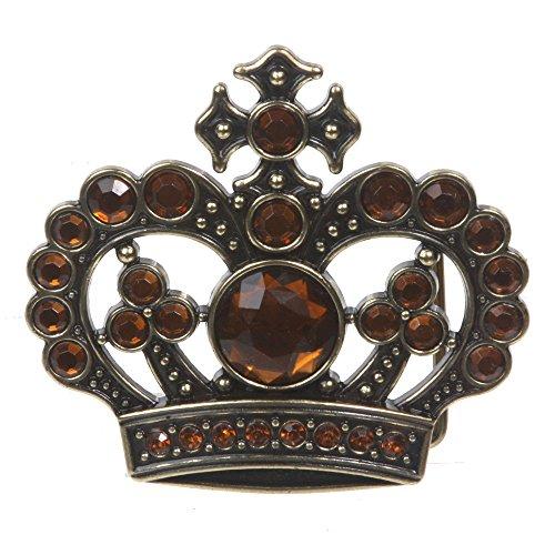 Rhinestone Crown Belt Buckle - 1