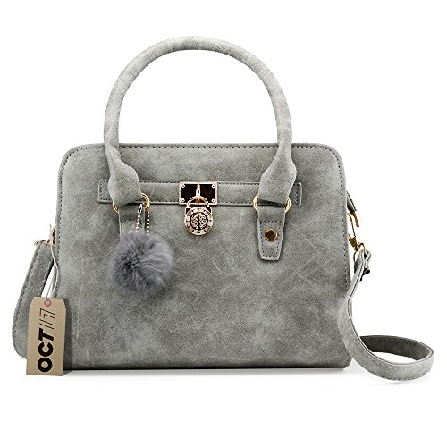 OCT 17 Lady Women Lock Faux Leather Tote Hobo Shoulder Bag Purse fur ball Satchel Fashion Luxury Handbag - Gray ()