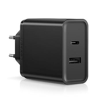 UGREEN Cargador Rápido USB Tipo C 18W con Un Puerto 5V 2.4A y Power Delivery 2.0 Compatible con QC 3.0/QC 2.0 para Macbook Pro, Huawei Matebook X Pro, ...