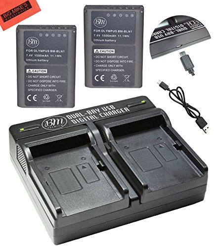 BM Premium 2-Pack Fully Decoded BLN1 Batteries and USB Dual Battery Charger Kit for Olympus Pen F, OM-D E-M1, OM-D E-M5, OM-D E-M5 Mark II, OM-D E-P5 Digital SLR ()
