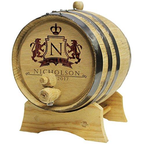 Personalized Whiskey Barrel - Monogrammed Wine Barrel - Custom Oak 2 Liter Barrel - WPS Designs by The Wedding Party Store