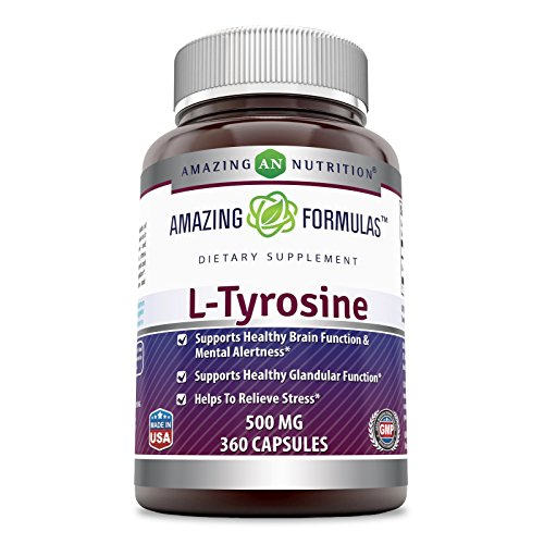 Amazing Formulas L- Tyrosine 500 Mg 360 Capsules - Supports Mental Alertness, Energy, Focus, Healthy Glandular Function and Balance