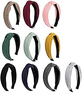 Canitor 10 Pack Knot Headbands for Women Top Knot Turban Headbands Knotted Headbands Wide Headbands