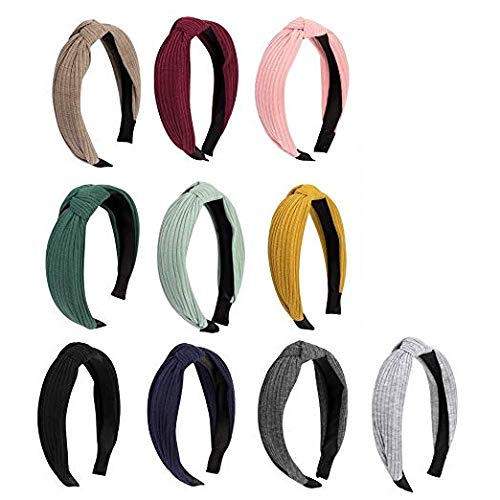 Wide Headbands for Women, Canitor 10 Pack Elastic Hair Band Knot Headband Turban Headband Knotted Headband Hair Accessories for Women or Young Ladies, 10 Plain Colors
