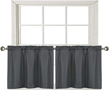 Amazon Com Home Queen Waffle Tier Curtains For Kitchen Window Waterproof Rod Pocket Bathroom Window Curtain For Small Window 2 Panels 36 W X 24 L Inch Each Solid Charcoal Furniture Decor