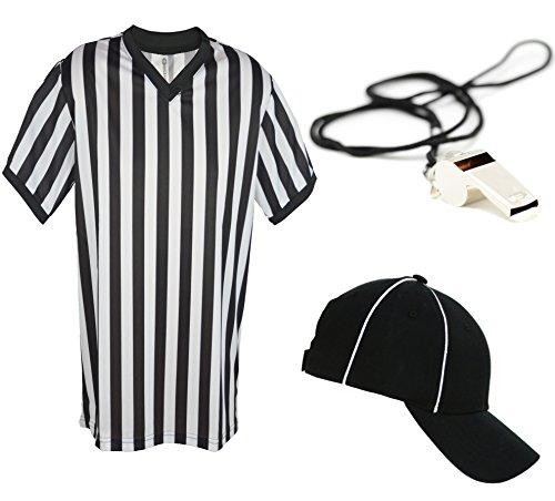 Mens Referee Shirts | V-Neck Style | Perfect Ref Shirt for Officials, Bars, More - Ref Set CA2025V L CA2099 V S/M -