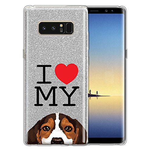 FINCIBO Case Compatible with Samsung Galaxy Note 8 Note8 N950 6.3 inch, Shiny Sparkling Silver Bling Glitter TPU Protector Cover Case for Galaxy Note 8 - I Love My Beagle Puppy Dog