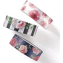Washi tape set, rose floral design decorative DIY adhesive paper masking tapes, writable, sticky, 3 rolls