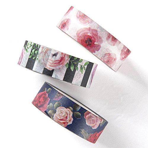 Washi tape set, rose floral design decorative DIY adhesive paper masking tapes, writable, sticky, 3 rolls (Stationery Papers Scrapbook)