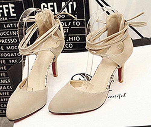 IDIFU Womens Dressy High Stiletto Heels Faux Suede Self Tie Pumps Shoes Beige TYE5kt