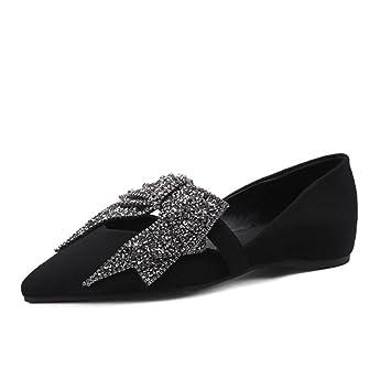 Mujer Plano Puntiagudo Dedo del pie Soltero Mocasín Ponerse Comodidad Casual Corbata de moño Diamante de imitación Ante Zapatillas Para caminar Zapatos: ...