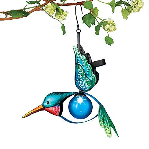 Hanging Blue Hummingbird With Solar (Hummingbird Collection 1 Light)