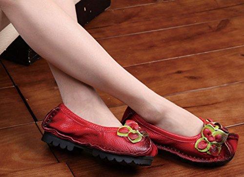 Soojun Femmes Mocassins En Cuir De Vachette Chaussures Plates Slip-ons Style 2 Rouge