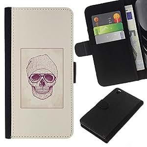 JackGot ( Hipster cráneo ) HTC DESIRE 816 la tarjeta de Crédito Slots PU Funda de cuero Monedero caso cubierta de piel