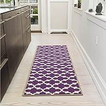 "Ottomanson Glamour Collection Contemporary Moroccan Trellis Design Runner Rug (Non-Slip) Kitchen and Bathroom Mat Rug, 20"" X 59"", Purple"