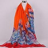 Onlineb2c Women's Cotton Linen Long Scarf Wraps Pashmina Shawls Orange