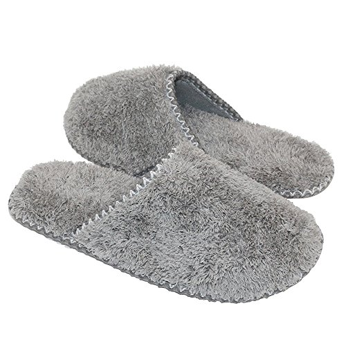 MKY Women's Plush Fleece Slip On Memory Foam House Cozy Slippers Indoor