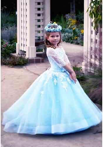 9da7ffd986 TriumphDress Big Girls White Blue Off-Shoulder Aileen Flower Girl Dress 6-12