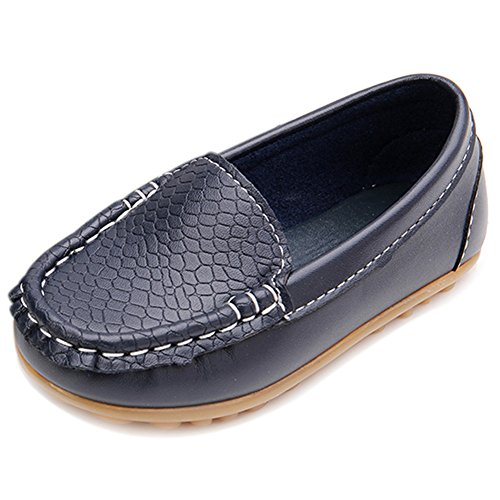 LONSOEN Toddler/Little Kid Boys Girls Soft Synthetic Leather Loafer Slip-On Boat-Dress Shoes/Sneakers,Deep Blue,SHF103 CN28 (Kids Girls Leather Toddler Shoes)