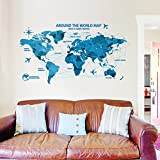 ufengke® World Map Origami Map Wall Decals, Living Room Bedroom Removable Wall Stickers Murals