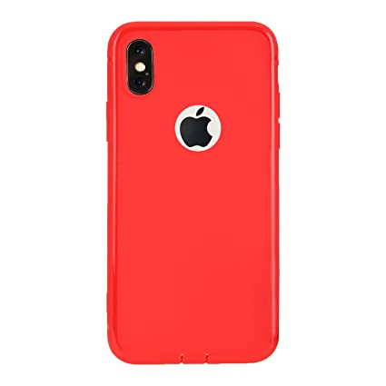 sports shoes 91654 278ba M7 Silicone Iphone X Black Soft Silicon Logo Cut Back Cover Case (Red, M7)
