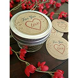 Valentines Day, Mason Jar Labels, Valentines Gifts in Jars, Canning Jar Stickers, Set of 8