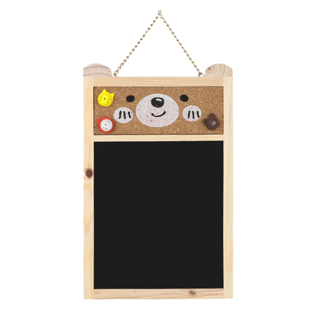 Chalkboard Home Hanging Set with 1 Chalk Eraser + 3 Cute Push Pin Wooden Drawing Message Bulletin Board for Home Office Class School