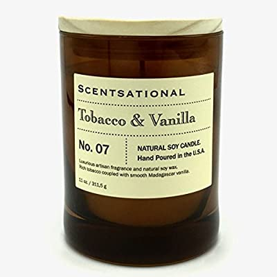 Scentsational Tobacco Vanilla Scented Natural Soy Candle Hand Poured in the USA