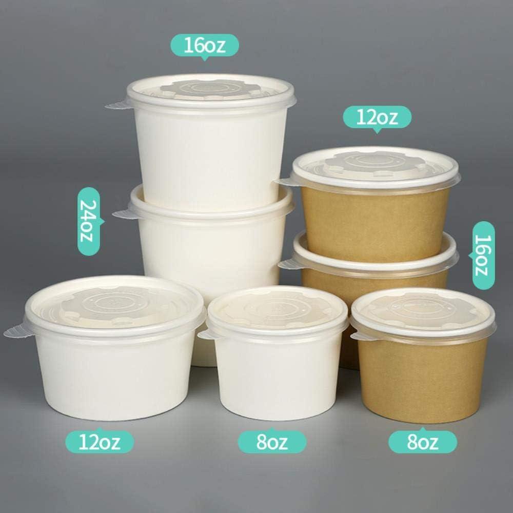 8Oz 235 ML 50 Pcs TTBDAN 50 Pcs /ÉPais R/éCipient Jetable Emballage Kraft Gobelets en Papier Cr/èMe Glac/éE Nouilles Soupe Snack /À Emporter Tasse avec Couvercle Tasse Et Couvercle