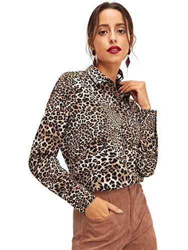 SweatyRocks Women's Sexy V Neck Leopard Long Sleeve Button Down Shirt Blouse Leopard Large