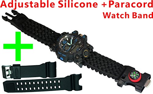 9½'' Length Outdoor Survival Watch, Hiking,Include Watch,Paracord,Fire Starter,Scraper,Whistle,Compass Claw 6 in 1 Multifunctional Outdoor Gear by Generic