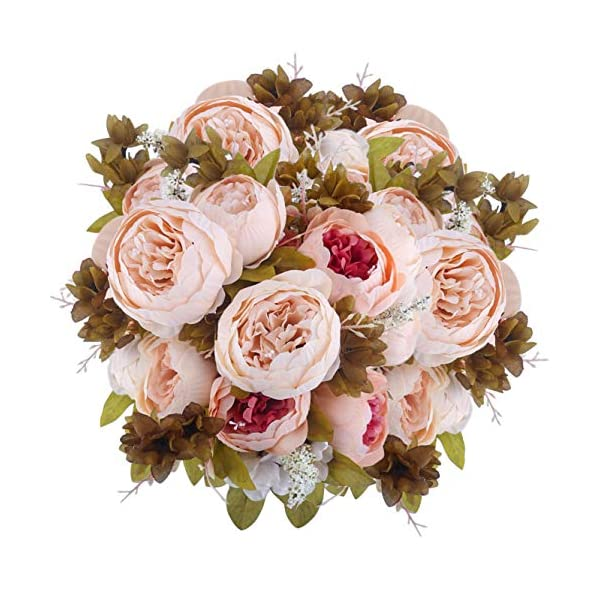 BOMAROLAN Vintage Artificial Peony Bouquet Silk Wedding Flowers, Pack of 2 Fake Flowers Home Party Festival Decoration(Light Pink)