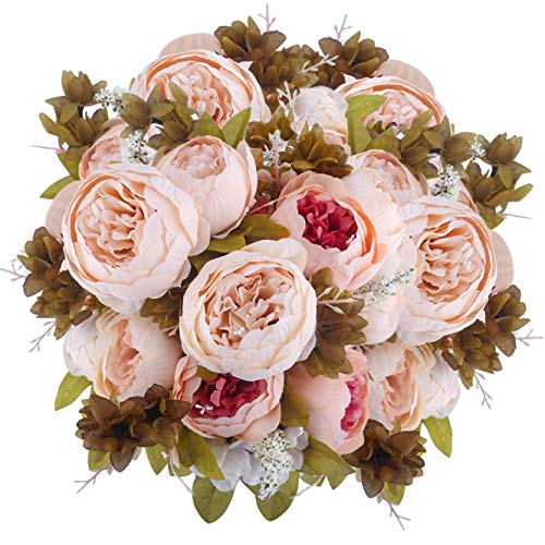 Bomarolan Fake Flowers Vintage Artificial Peony Bouquet Silk Wedding Flower, Pack of 2 Home Party Festival Decoration(Light Pink)