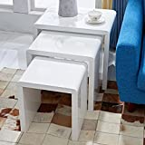 LSCING Collection Stackable Glossy Finish 3-Piece End Table Side Nesting Table, White
