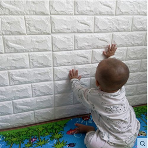 "10 Pcs 3D Brick PE Foam DIY Wall Sticker Self Adhesive Wallpaper, YTAT White Brick Wallpaper,3D Wall Panels TV Sofa Background Living Room Decoration 23.6""x23.6""(60x60cm)(10, white)"