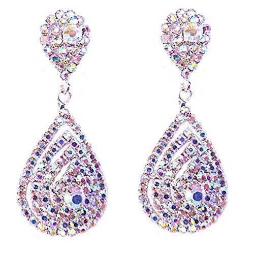 Fashion Jewelry Women's AB Aurora Borealis Crystal Long Dangle Earrings (Ab Jewelry)