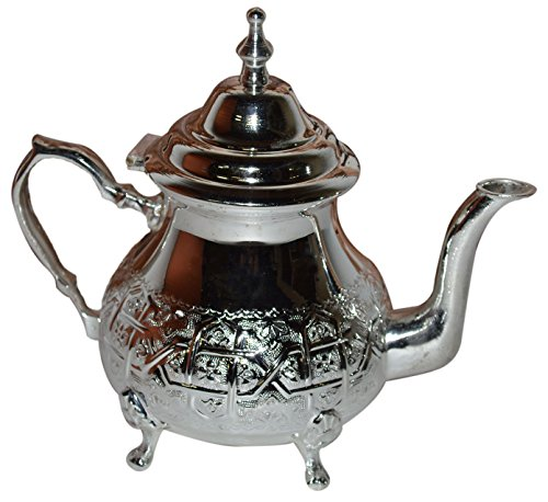 Tea Serving Moroccan Serving Tea Pot Handmade Silver Platted Kettle 32 Oz