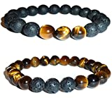 Hidden Hollow Tigers Eye and Black Lava Natural Stone Women's Yoga Beaded Stretch Bracelets. Comes in A Gift Box! (3 Bead Tigers Eye & Black Lava)