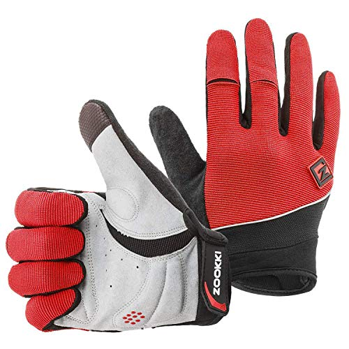 Finger Glove Pad - Zookki Work Gloves,Full finger-Red,XL(9.0inches-9.8inches)
