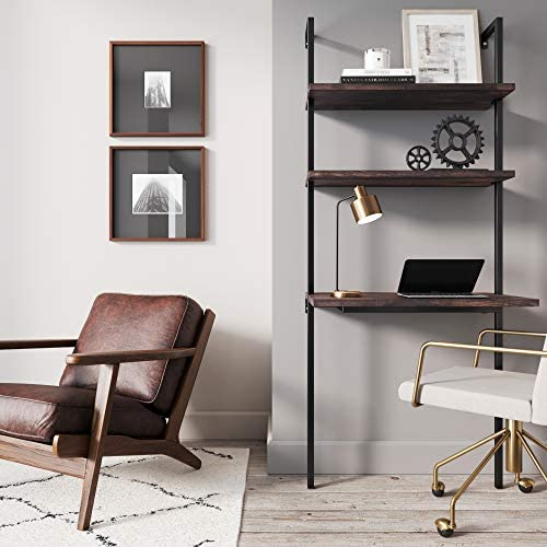 Nathan James Theo 2-Shelf Industrial Wall Mount Ladder Table